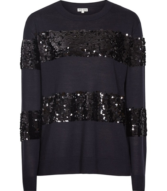 How gorgeous is this piece from the Reiss Autumn winter collection. Perfect day-to-night sequin stripes, in a loose fitting knit.