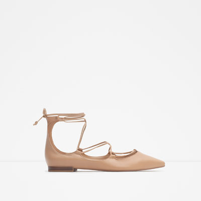 These Zara tie-up leather ballerina flats are so feminine and classic in style. I'd wear these teamed with soft grey jeans and a cream drape blouse.