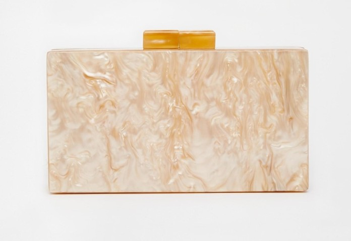 How Edie Parker! This pearlescent pink marbled box clutch looks considerably more expensive than its £28 price tag.